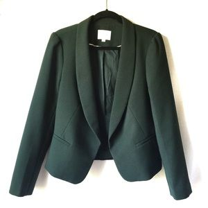 Loft Long Lapel Dark Green Blazer